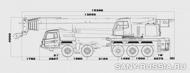 Размеры автокрана SANY STC1000C